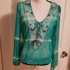BEACH INC. TEAL PULLOVER EMBELLISHED TOP